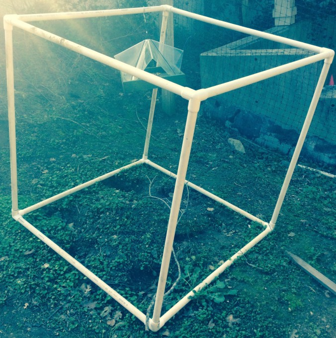 Art meets science with this 2 foot by 2 foot observation cube installed in the garden outside of the science lab.